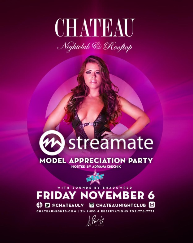 Adriana Chechick and 200+ Streamate Models Set to Rock Las Vegas' Chateau Nightclub